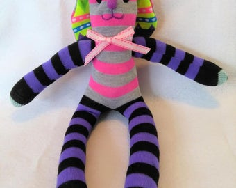 Sock Bunny - Sock Toy - Stuffed Animal - Handmade - One of a Kind - Easter - Baby Toy - Toddler Toy - Handmade