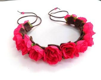 The Ramblin' Rose flower crown in dark pink, Coachella flower crown, hot pink festival flower crown headband, hippie flower halo