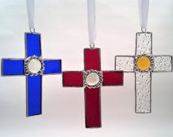 Stained Glass Cross- Rememberance- Made to Order