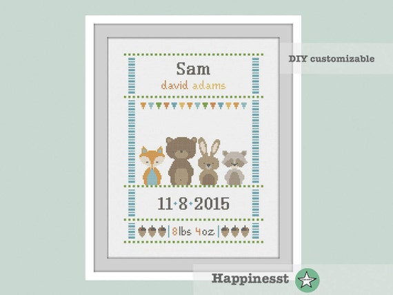 cross stitch baby birth sampler, birth announcement, woodland animal, on white cloth, DIY customizable pattern** instant download**