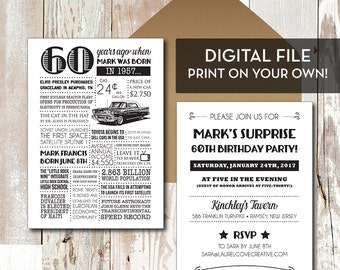 Personalized 60th Birthday Invitations, 1957 Events - Digital File