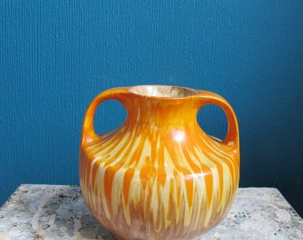 Vintage ceramic two handled hand painted vase. Orange, yellow and brown, made in England, 1930s