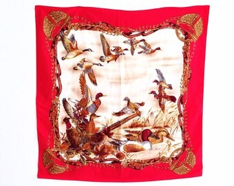 Vintage 70s Scarf Silk, Ducks print in red, beige and brown colors. 83 X 85 cm.