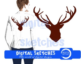 Deer Head Machine Embroidery Design 7 Sizes