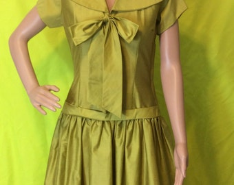 1950s Pea Green Sailor Dress, XS-S