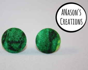 Green Fabric Covered Button Stud Earrings - Hypo-Allergenic Surgical Steel