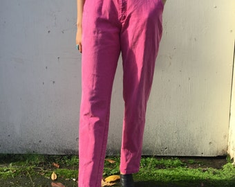 80s Pink Western Jeans. 1980s Bright Pink Cowgirl Denim Pants. Medium. Roper