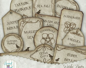 Commercial Use Product Labels, Witches' Herbs, Herbal Remedies, Herbs, Printable Labels, Gift Tags, Paper Craft Supplies - Witches' Pantry