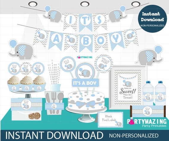 Boy Baby Blue Elephant Baby Shower Set, Printable Baby Shower Package, Full Party Decoration Kit, Instant Download -D804 BBEB1