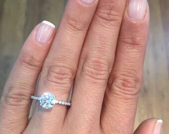 1.87 Carat  D SI2 Round Brilliant Cut Diamond Engagement Ring14K White Gold #J73179  FREE SHIPPING