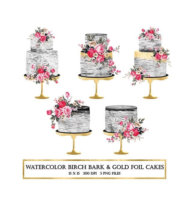 Watercolor Cake Clip Art : Watercolor Cake Clipart, Birch Cake Clipart, Gold Foil ...