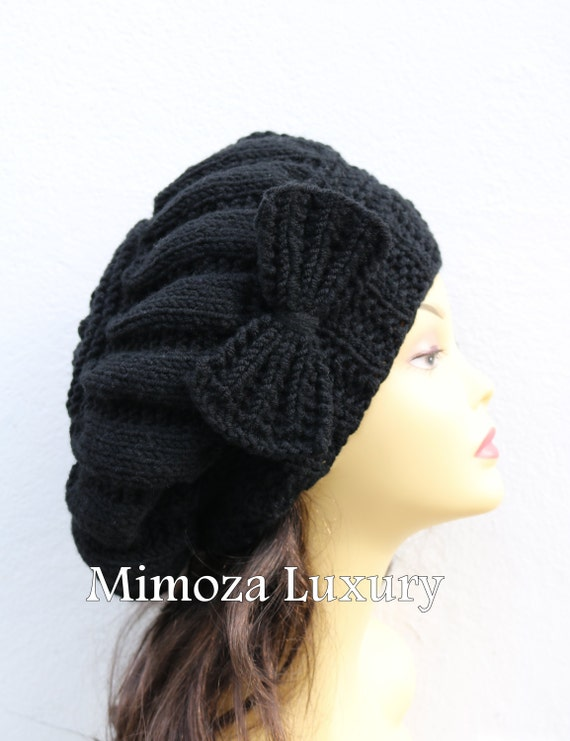 Black Hand Knitted Beret Hat with Bow, Beret woman hat, black lady knit hat, slouchy knit women's hat with bow, black wool hat, black winter