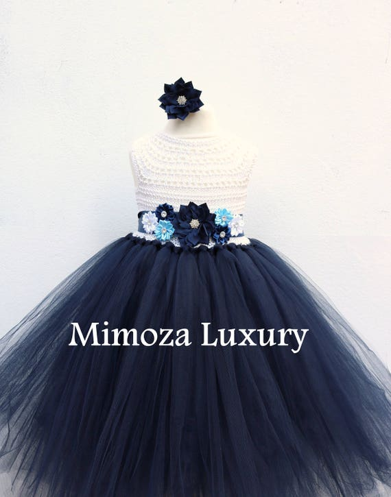 Navy White Flower girl dress, White and Navy tutu dress, navy blue white bridesmaid dress, navy blue princess dress, white navy wedding