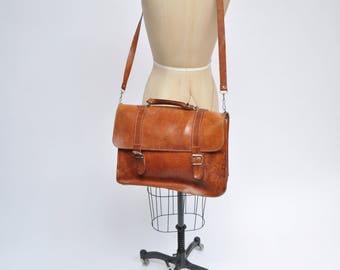 vintage leather satchel bag handbag briefcase purse tote messenger bag