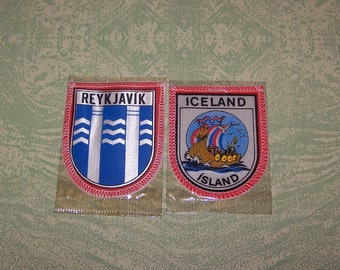 Two Iceland Island Reykjavik sew-on patches