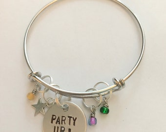 "Disney Parks Disney World Parade Show Move It Shake It Dance and Play It Street Party Inspired Bangle Bracelet - ""Party Up!"""