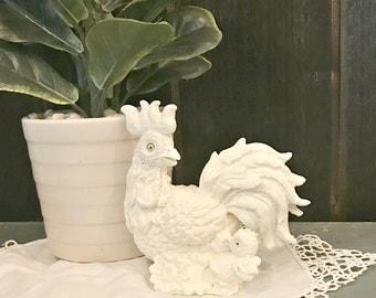Farmhouse Chicken - Chicken Decor - Rooster Accessories - Rooster Decor - Ceramic Chicken - Farmhouse Rooster - Chicken Sculpture - White