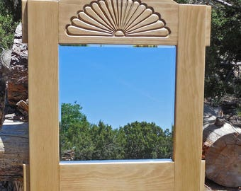 Handmade Pine Wall Mirror with Carved Sunburst and Beveled Mirror