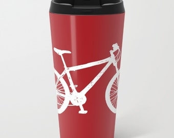Bike Metal Travel Mug - Bicycle Stainless Steel Travel Mug With Lid - Gift For Men - Gift For Women - Aldari Home