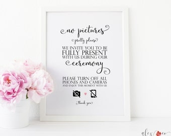 Unplugged Ceremony Printable. No Pictures Wedding Sign. No Pictures Please. No Cameras Sign. Unplugged Wedding Sign. Unplugged Ceremony.