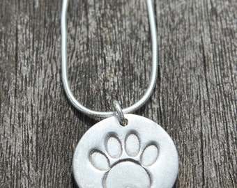 Silver pawprint necklace, silver paw print pendant, paw print, cat paw print, dog paw print, animal lover gift, paw necklace, pet print
