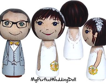 Wooden Cake Toppers/Red/Orange/Yellow/Personalised Anniversary gift/Peg dolls/Orange/Yellow  - 6.5 cm tall