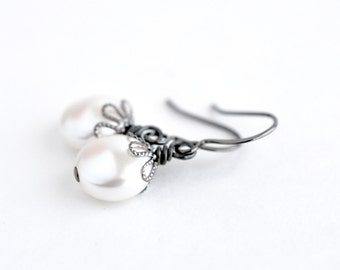 Classic white pearl earrings, pearl dangle earrings, simple pearl earrings, Swarovski pearl bridal jewelry, unique coin pearl drop earrings