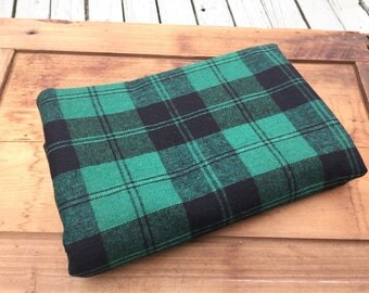 Wool plaid vintage fabric mid weight black green chair cover skirt slacks