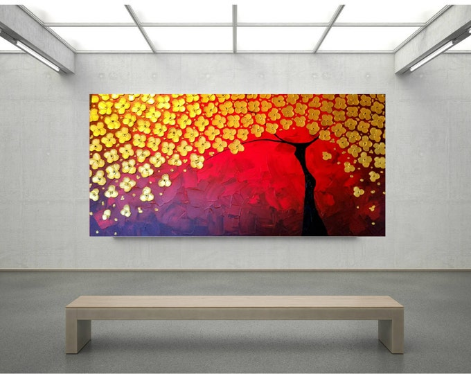 Impasto Acrylic Painting Flower Palette Knife Brush Metallic Gold Red Tree of Life Large stretched canvas