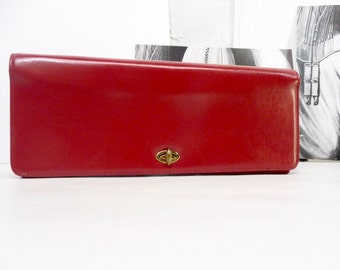 Purse pouch leather and suede red year 1950. Normandy. Montreal formal casual stylish