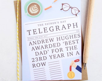 Best Dad Personalised Father's Day Card - Personalised Father's Day Card - Card for Dad - Personalised Card for Dad - Father's Day - Father