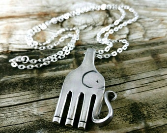 Elephant Fork Necklace, Vintage Fork Elephant, Silver Plated Fork, Handmade Elephant Pendant, Stamped Fork Elephant
