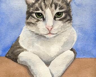 Custom Pet Portrait, Watercolor Cat Portrait, Hand Painted Art from your Photo