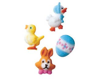 Set of 4 Easter Sugar Decorations, Cupcake Toppers, Cake Topper, Easter, Church Potluck, Egg, Chick, Bunny, Duck, Rabbit, Chicken