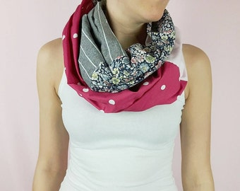 Floral pink, gray and pink with white dots infinity scarf, 100% cotton Women scarf colorfull, APRT Creations, Women Accessory