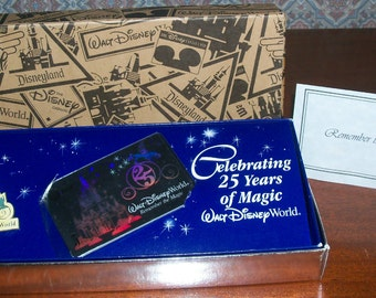 Vintage Walt Disney World  'Remember the Magic' AT&T Holographic Commemorative Phone Card and 25th Anniversary Pin Set in Original Boxes