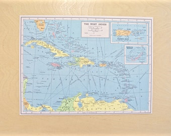 1943 - West Indies Map - WWII Era Map - Beautiful Old Map of West Indies - Large Vintage Map - Colorful Atlas Map - Gift - Home Decor