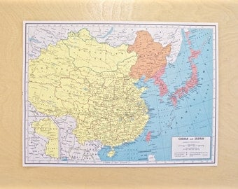 1943 - China Map - WWII Era Map - Beautiful Old Map of China - Large Vintage Map - Colorful Atlas Map - Gift - Home Decor