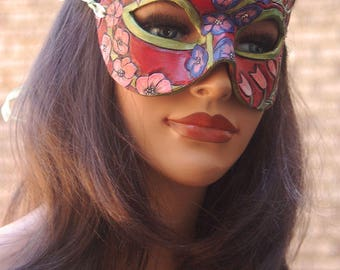 Lady of July Ruby and Delphinium Larkspur Leather Mask - Limited Edition 1 of 10 Birthstone Birth Flower Art Nouveau Mardi Gras Masquerade