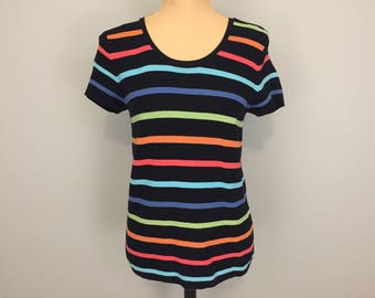 Sweater Top Cotton Black Multi Color Top Knit Cotton Short Sleeve Horizontal Stripe Summer Casual Tops Talbots Medium Womens Clothing