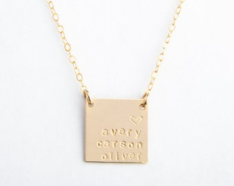 "Large Square Necklace, 5/8"", Personalized, Handstamped, Name Necklace, Date, Gold Filled or Sterling Silver"