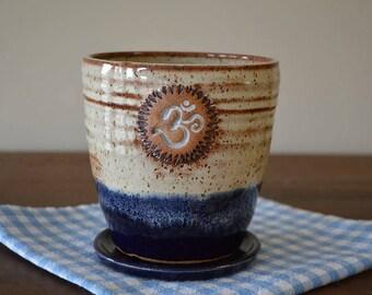 planter and saucer in blue and cream, Namaste, planter, indoor planter, herb planter, flower pot, patio planter, ceramic planter