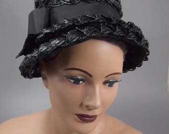 Chic Black Vintage 60s Hat Lightweight Straw Mod Era Cloche Style Hat