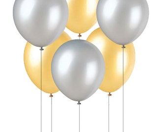 Silver and or Gold Balloons 11 Inch with Fast Shipping, Silver Colored Bulk Baloons, Gold Colored Balloons, Metallic Silver, Metallic Gold
