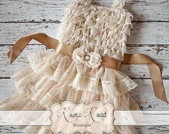 Rustic Flower Girl Dress - Country Flower Girl Dress, Baby Girl Vintage Dresses, Ivory Flowergirl Dress, Lace Ruffle Dress CHOOSE SASH COLOR