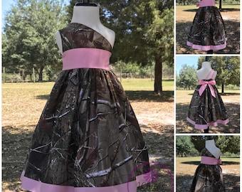 Camouflage one shoulder flowergirl dress | Country wedding | camo wedding flower girl dress | camo and pink flowergirl | camo pageant dress