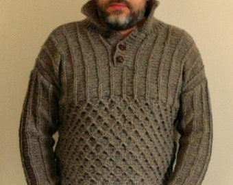 Men's Hand Knitted Pure Wool Cable Pattern Sweater/Jumper-Button Neck-Medium Size-Pure Wool Hand Knit-Mens Luxury Knitwear-Scottish Knitwear