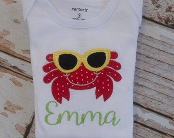 Personalized Crab Summer Shirt with Sunglasses
