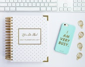 SALE - 2017 JAN-DEC Planner Agenda Calendar. Daily - Monthly Let's do This - Gold Foil White Polka Dots New Year Planner