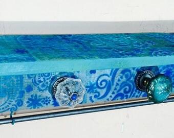floating nightstand pallet wood shelves hanging vanity reclaimed wood bedroom shelving teal paisley 5 knobs 4 hooks & 2 bracelet bars